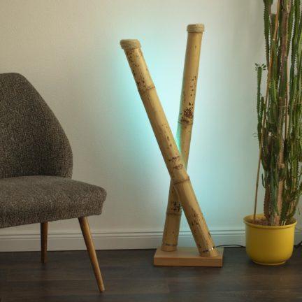 Stehllampe LevantoX Bambus Tutul