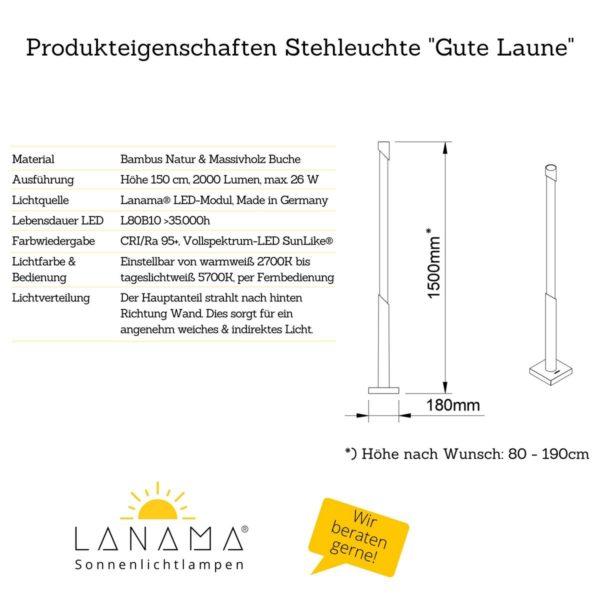 Stehlampe mit indirektem Licht - Produkteigenschaften