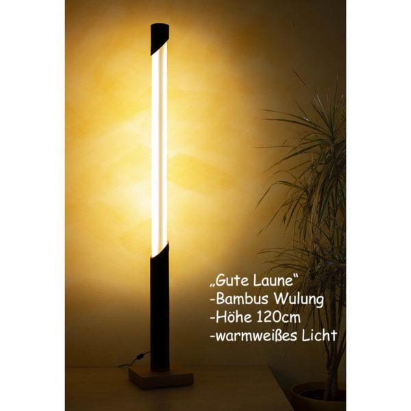 Vollspektrum Tageslichtlampe auf warmweiß, Bambus Wulung, Hoehe 120cm