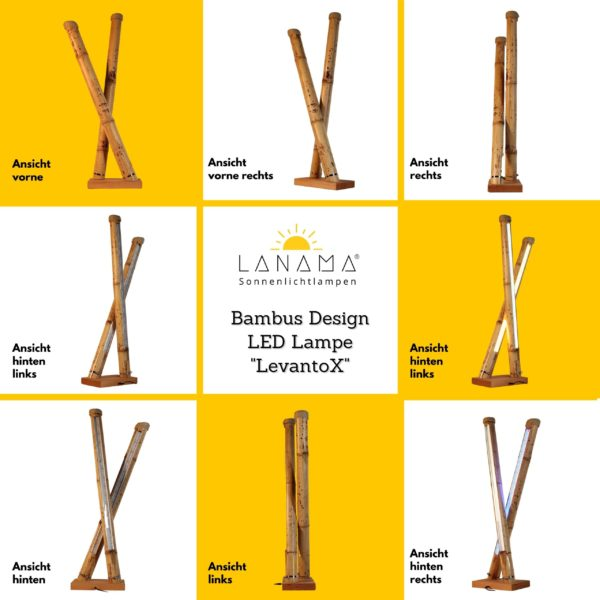 Design Stehlampe aus Bambus 3D Ansicht