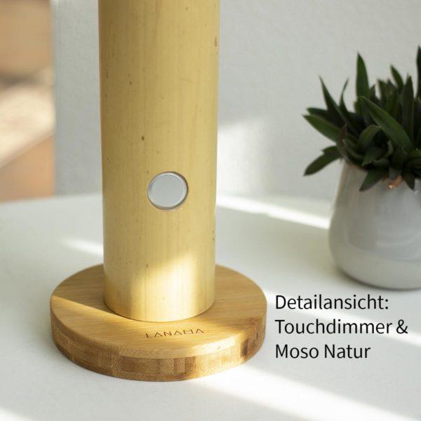 Lanama LED Leselampe aus Bambus mit Vollspektrumlicht und Touchdimmer warmweiss