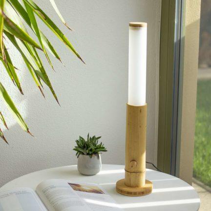 Lanama Design LED Tischlampe Bambus Moso Natur 400 Lumen mit Drehdimmer, Vollspektrumlampe aus natürlichen Material, Handmade in Germany