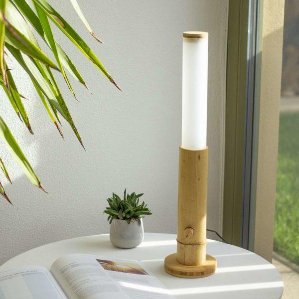 LED Tischlampe Bambus 400 Lumen mit Drehdimmer