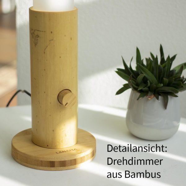 Lanama LED Tischleuchte naturnahes Vollspektrumlicht Sunlike Bambusrohr Moso natürlich 550 Lumen Detail Drehdimmer Handarbeit aus Deutschland