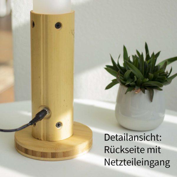 Lanama LED Tischleuchte naturnahes Vollspektrumlicht Sunlike Bambusrohr Moso Naturbelassen Rückseite