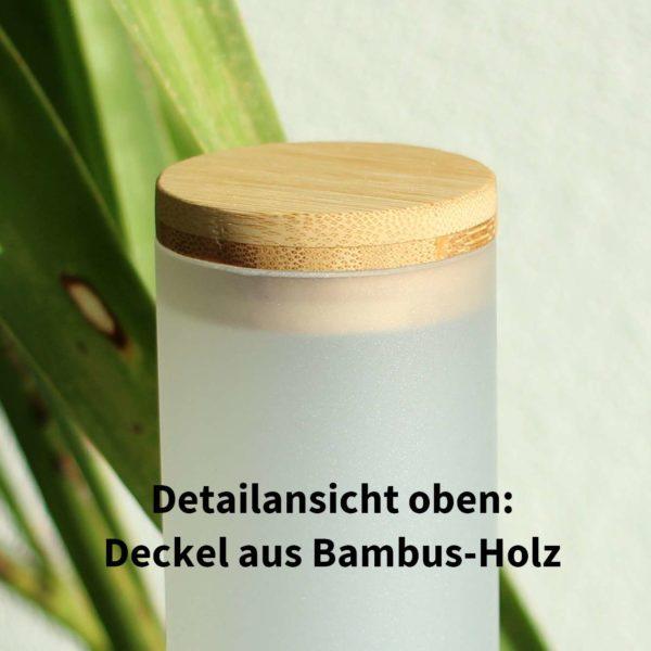 LED Tageslichtlampe mit Sunlike Vollspektrumlicht, Deailansicht Deckel aus Bambus