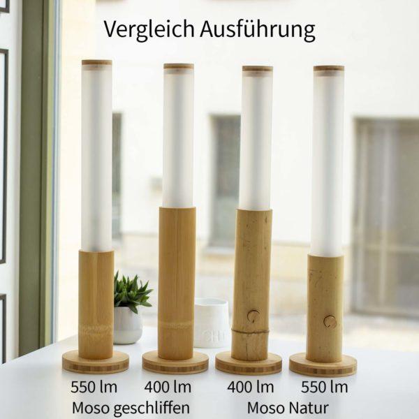 Lanama Tischlampen Bambus Natur und geschliffen Vergleich Bambussorte, Helligkeit und Dimmer