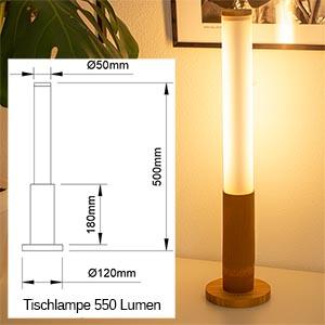 550 Lumen, max. 8 W(Höhe 50cm)